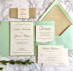 Mint and Gold Glitter Pocket Wedding Invitations by CZinvitations on Etsy. Available in 130 different paper and envelope colors, and multiple glitter colors!