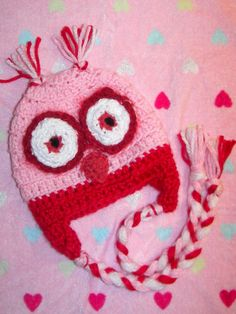 Valentine's Day Baby Owl Hat Pink Red White by mandag433 on Etsy, $24.00