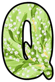 Monogram Alphabet, Lily Of The Valley, Bubbles, Scrap, Board, Floral, Garden, Flowers, Floral Letters