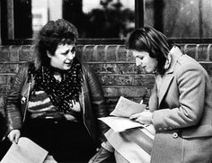 Vi Subversa (of anarcho-punk band Poison Girls) being interviewed by Carol Thatcher, daughter of the then Prime Minister. Carol Thatcher was working for the Daily Telegraph so quite how this interview came about is anybody's guess.
