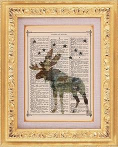 Woodland Moose Upcycled Dictionary Page by TheRekindledPage, $8.98