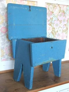 "Adorable stool/bench/storage! Could be made small enough for a sewing kit, or big enough for a child to store toys, or big enough for a large person :) to sit and put shoes on. Several photos. ""Small vintage blue painted wooden stool with lift up lid, the stool shows wear and tear in places, please see all images. The stool measures approx 15 x 10 x 12.5"" - See more at: http://countrystyleliving.co.uk/item_888/Blue-Wooden-Stool.htm#sthash.0SttLOYe.dpuf Blue Painted Wooden Stool"""