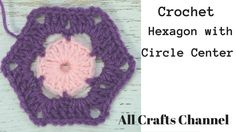 Crochet hexagon with circle center
