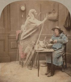 Animated stereoscope of ghost scene, ca. 1856. The London Stereoscopic Company had produced over a hundred thousand stereoscopic scenes such as this by 1858. Applied color.