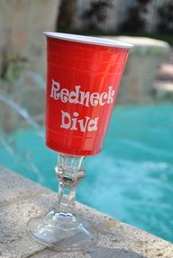 Red solo cup wine glasses, could make these ourself. Candle stick holder from dollar tree & a red solo cup! Redneck Birthday, Redneck Party, Birthday Bash, Birthday Cakes, Birthday Ideas, Birthday Parties, White Trash Party, Red Solo Cup, Best Birthday Quotes