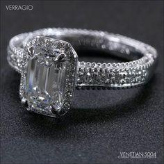 Verrago Emerald Cut Diamond Vintage Inspired  Engagement Ring