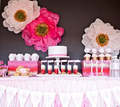 Yellow Roses Square Paper Dessert Plates stunning pink + gold tissue paper flower backdrop {Paiges of Style} Fruit Inspired Mini Party Hats. Rosa Desserts, Pink Desserts, Spa Party, Shower Party, Baby Shower Parties, Paper Flower Backdrop, Paper Flowers, Tissue Flowers, Bridal Shower Favors