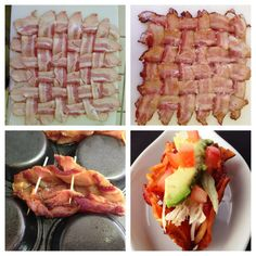 Bacon Taco Shell via Paleo Cupboard Weave bacon and place on a wire baking rack over a baking pan Bake at until starting to crisp ( will be. Primal Recipes, Raw Food Recipes, Cooking Recipes, Cooking Tips, Easy Recipes, Bacon Recipes, Bacon Taco Shells, Food Photo, Love Food