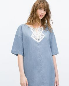 Image 2 of KAFTAN WITH GUIPURE LACE BIB FRONT from Zara