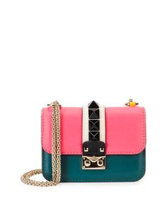 Colorblock Small Rockstud-Trim Flap Bag, Pink/Teal/Yellow by Valentino at Neiman Marcus.