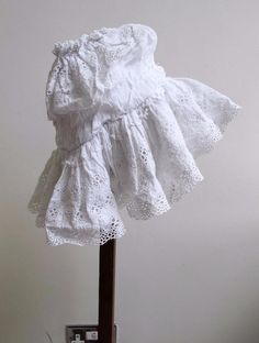 Antique Edwardian White Cotton Broderie Anglaise Young Girls Mob Cap c1910
