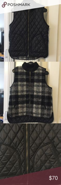 Madewell Reversible Quilted Plaid Vest 10 This is in excellent pre-owned conditions. One side is a quilted black then the other is a plaid.  Both sides have pockets. Can fit over a sweater. Madewell Jackets & Coats Vests