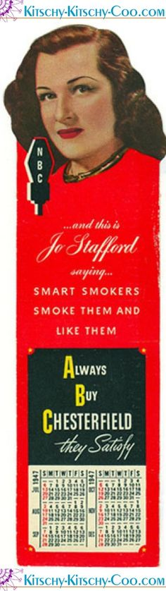 Vintage Chesterfield advertising bookmark featuring singer Jo Stafford.
