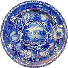"""English Staffordshire Historic Blue Transferware Plate by Ralph Hall's """"Pain's Hill, Surrey"""" -- Shop the Ruby Lane 50% off Holiday Sale at www.rubylane.com #cybermonday #mondayblues"""