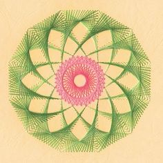 Beautiful Abstract Spirograph String art on paper ! Looks almost like an open lotus/ water lily !