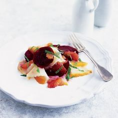 Smoked halibut, beetroot and clementine salad recipe. Try this dish with smoked halibut - the king of fish - with splendid root vegetable dish made of beetroot and clementine saladthis. It goes well with any cured fish. Winter Salad Recipes, Healthy Salad Recipes, Halibut Recipes, Seafood Recipes, Smoked Halibut, Winter Dishes, Delicious Magazine, Roasted Beets