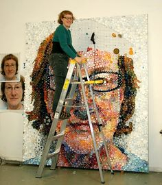 Mary Ellen Croteau Creates a Self Portrait with Thousands of Plastic Bottle Caps. | Mary Ellen Croteau is an artist whose work directly addresses the absurdities of social norms, and lays bare the underlying bias and sexist assumptions on which our culture is constructed. She lives and works in Chicago, IL.