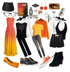 Undertale: Grillby by notasupervillian on Polyvore featuring polyvore fashion style Elie Saab R13 Clover Canyon Clarks Versus Lanvin Kensington Road Bow-Tie Converse Riedel Chef Works