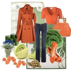 The extra stuff is distracting, but I love the orange and green together. That jacket is beautiful!