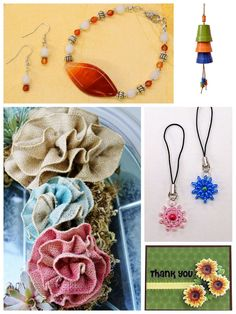 Fun craft ideas! Burlap Rose, Cell Phone Charm, Planter Pot Windchime @BenFranklinCrafts Monroe