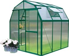 """Grow N Up Hobby Greenhouse 6x6 by EarthCare Greenhouses. $649.99. Green Power coated Aluminum Frame with Lifetime warranty. 2 Roof Vents, Single Sliding Door. 6'6"""" wide and 6'6"""" long and 6'7"""" high.  door is 2' Wide and 5'5"""" tall. 6 MM Double Wall Polycarbonate Panels on roof and walls. Base is optional but available. Top of the line greenhouse kit with a very affordable price. Compare this greenhouse with the other models and you will see how much greenhouse you are getting for t..."""