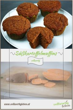 Süßkartoffeln machen sich auch als Nachspeise hervorragend. Diese Muffins werden besonders fluffig und locker – damit überzeugst du auch die größten Kritiker der Vollwertkost.  #vollwert #süßkartoffelmuffins #muffins #süßkartoffeln #rezept #diy Muffins, Cupcakes, Sweets, Breakfast, Foodblogger, Teller, German, Board, Yummy Food