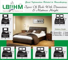 #Hospitality  Great information related to #housekeeping. Types of Beds with dimensions and mattress height. http://www.lbiihm.com/