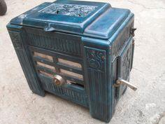 antigua fundicion estufa esmaltada en azul  articulo de Tiendarustica.com