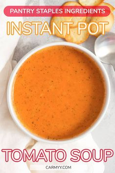 This delicious freezer friendly Instant Pot Tomato Soup use pantry staples. There's always a couple cans of tomatoes in the back of my couple so here's an easy way to use it up!