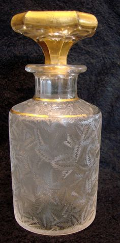 French Baccarat Crystal Art Glass Etched Perfume Scent Bottle c 1890 - 1900