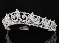 A89195 CLEAR AUSTRIAN RHINESTONE CRYSTAL CROWN TIARA HAIR COMB BRIDAL PARTY WED - EXCLUSIVE DEAL! BUY NOW ONLY $23.99