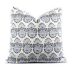 John Robshaw Lanka Lapis Pillow Cover, Boho Pillow, Indigo, Blue, White, Linen, Floral, Pattern, SKU07252SH