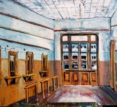 """Héctor Romanzini- """"Estación de Deán Funes"""" (2002) -2º Premio Encuentro Nacional de Pintores -Colección de la Escuela Sup. De Bellas Artes Martín Santiago (Deán Funes) Argentina."""