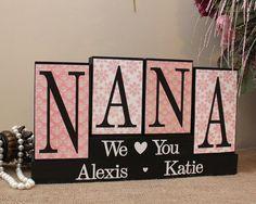 Personalized Handmade Gifts For Nana, Christmas Gift Idea, Nana Wood Blocks, Gifts for Her, Mom Birthday Gift, Nana Gift from Grandkids