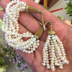 chic: This gold, pearl and diamond tassel bracelet by Rene Boivin, circa comes up sale of on June 10 Tassel Bracelet, Tassel Jewelry, Pearl Jewelry, Diamond Jewelry, Cuff Bracelets, Pearl Necklace, Diamond Ice, Jewelry Boards, Vintage Glamour
