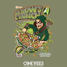 """Arrow's Crunch"" by FernandoSala T-shirts, Tank Tops, Sweatshirts and Hoodies on sale until 18th September at Othertees.com Pin it for a chance at a FREE TEE! #greenarrow #oliverqueen #ollie #dc #dccomics #comics"