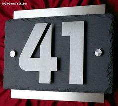 Exklusive Hausnummer aus Edelstahl und Schiefer 3D Hausnummernschild Türschild in Heimwerker, Eisenwaren, Hausnummern   eBay!