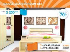 Seeking for pleasant atmosphere in your bedroom, pay attention to this tender Nicole Oak Bedroom Set. Full set includes two nightstands, a chest of drawers with a mirror and a wardrobe all covered in light oak finishing.This modern and stylish design will help you to create constant feeling of cosiness and serenity.   More details here: http://gtfshop.com/nicole%20oak-bedroom-set?search=nicole