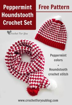 Peppermint Houndstooth Crochet Hat & Scarf - Free Pattern The Peppermint Houndstooth hat uses the same great houndstooth stitch and the peppermint colors red, white as the Peppermint Houndstooth Scarf. Crochet Beanie Pattern, Crochet Stitches Patterns, Hat Patterns, Booties Crochet, Knitted Hat, Stitch Crochet, Free Crochet, Crochet Baby, Crochet Scarves