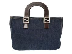 #FENDI Hand bag Denim/Leather Blue/Brown 26329 (BF104586): All of #eLADY's items are inspected carefully by expert authenticators who have years of experience. For more pre-owned luxury brand items, visit http://global.elady.com