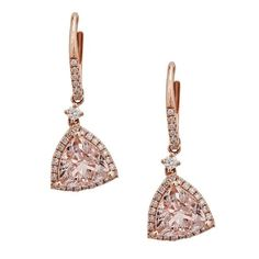 Anika and August 14k Rose Gold Trillion-cut Mozambique Morganite and 1/2ct TDW Diamond Earrings (G-H, I1-I2) (MG), Women's, Size: Medium, Pink