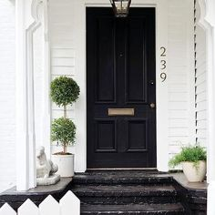 front door, front porch can't go wrong with black doors on a linen white painted house Black Front Doors, Front Steps, Door Steps, Atlanta Homes, Grand Entrance, Entrance Ways, Cottage Homes, Open Plan, Architecture