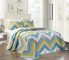 "3-Piece Fine printed Oversize (115"" X 95"") CHEVRON ZIGZAG Quilt Set Reversible Bedspread Coverlet KING / CAL KING SIZE Bed Cover (Turquoise, Blue, White, Grey, Yellow) Oversize King / Cal King size Bedspread (Coverlet) Set Size Bed Spread - 115"" X 95"", 2X King Shams 20"" X 36"" 16 Colors and patterns Available-Coral Pink / Grey; Navy Blue Paisley; Aqua Blue / Sage Green; Yellow/ Black / Grey; Turquoise Blue / White; Navy / Burgundy 100% Micro Fiber. Machine wash in cold water with si..."