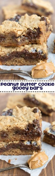 Peanut Butter Cookie Gooey Bars - my favorite easy peanut butter cookie recipe baked as a bar and filled with gooey chocolate! ~ Crazy for Crust Brownie Desserts, Mini Desserts, Easy Desserts, Delicious Desserts, Yummy Food, Easy Sweets, Easy Peanut Butter Cookies, Peanut Butter Cookie Recipe, Peanut Butter Recipes