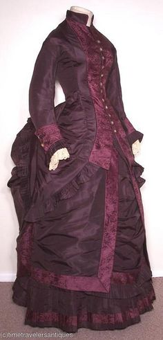 Wonderful colours! Antique bustle gown.  1870s sold on ebay from Time Travelers Antiques