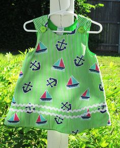 Girls Sailor Baby Girls Dress -  Boutique Clothing for Babies - Designer Baby Girl Clothes - Couture Baby - Cute Baby Clothes - 0-3m to 4T