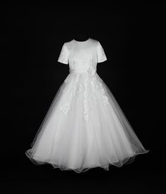 Traditional First Communion Dress - Short Sleeve Beaded Lace Appliques with Whimsical Tulle Skirt - Nancy - Isabella Collection New 2015 - 83GA3553 -