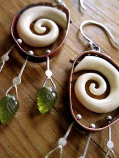 Mastodon Ivory Swirl Earrings by Juliana Marquis