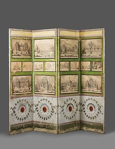 An Italian Neoclassical canvas screen. Applied with 16 copperplate engravings. With traces of wear and moisture. H 219, W of one wing 63.5, total W 254 cm.  Italy, 19th C., the engravings primarily by Guiseppe Vasi (Rome), 2nd half 18th C.