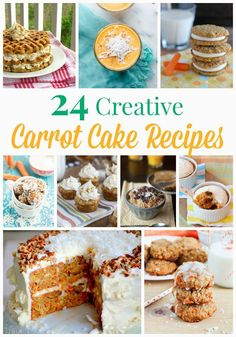 24 Creative Carrot Cake Recipes - don't just have your cake and eat it too! From breakfast to dessert, healthy to decadent, traditional to innovative, the classic carrot cake gets some modern makeovers.